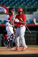 Palm Beach Cardinals Johan Mieses (37) walks to home plate in front of catcher Brett Cumberland during a game against the Florida Fire Frogs on May 1, 2018 at Osceola County Stadium in Kissimmee, Florida.  Florida defeated Palm Beach 3-2.  (Mike Janes/Four Seam Images)