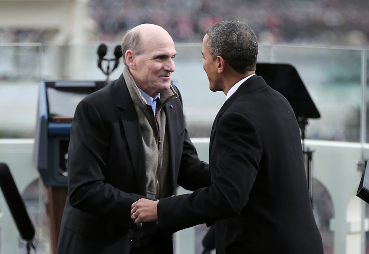 WASHINGTON, DC - JANUARY 21:  U.S. President Barack Obama greets singer James Taylor after his performance during the public ceremonial inauguration on the West Front of the U.S. Capitol January 21, 2013 in Washington, DC.   Barack Obama was re-elected for a second term as President of the United States.  (Photo by POOL Win McNamee/Getty Images)