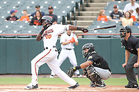 Bowie, MD - May 6, 2018: Bowie Baysox third baseman Anderson Feliz (20) swings at a pitch during the MiLB game between Akron and Bowie at  Baysox Stadium in Bowie, MD.  (Photo by Elliott Brown/Media Images International)
