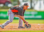 9 March 2013: Miami Marlins infielder Derek Dietrich warms up prior to a Spring Training game against the Washington Nationals at Space Coast Stadium in Viera, Florida. The Nationals edged out the Marlins 8-7 in Grapefruit League play. Mandatory Credit: Ed Wolfstein Photo *** RAW (NEF) Image File Available ***