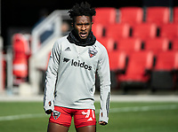 WASHINGTON, DC - MARCH 07: Oneil Fisher #91 of DC United warms up during a game between Inter Miami CF and D.C. United at Audi Field on March 07, 2020 in Washington, DC.