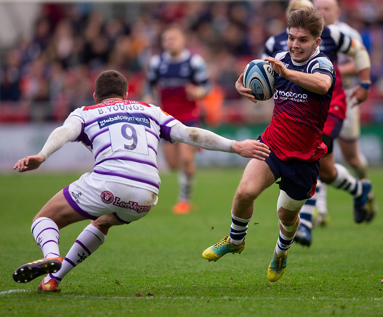 Bristol Bears' Harry Randall in action during todays match<br /> <br /> Photographer Bob Bradford/CameraSport<br /> <br /> Gallagher Premiership - Bristol Bears v Leicester Tigers - Saturday 1st December 2018 - Ashton Gate - Bristol<br /> <br /> World Copyright &copy; 2018 CameraSport. All rights reserved. 43 Linden Ave. Countesthorpe. Leicester. England. LE8 5PG - Tel: +44 (0) 116 277 4147 - admin@camerasport.com - www.camerasport.com