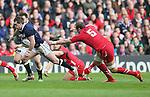 Stuart Hogg of Scotland races through past Alun Wyn Jones of Wales - RBS 6Nations 2015 - Scotland  vs Wales - BT Murrayfield Stadium - Edinburgh - Scotland - 15th February 2015 - Picture Simon Bellis/Sportimage
