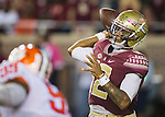 Florida State quarterback Deondre Francois passes against Clemson in the first half of an NCAA college football game in Tallahassee, Fla., Saturday, Oct. 29, 2016. (AP Photo/Mark Wallheiser)