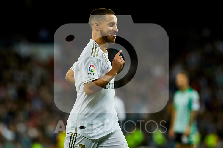 Eden Hazard of Real Madrid celebrates goal (anulated) during La Liga match between Real Madrid and Real Betis Balompie at Santiago Bernabeu Stadium in Madrid, Spain. November 02, 2019. (ALTERPHOTOS/A. Perez Meca)