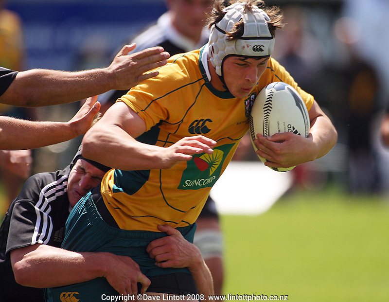 Kane Barrett tackles Luke Jones during the International rugby match between New Zealand Secondary Schools and Suncorp Australia Secondary Schools at Yarrows Stadium, New Plymouth, New Zealand on Friday, 10 October 2008. Photo: Dave Lintott / lintottphoto.co.nz
