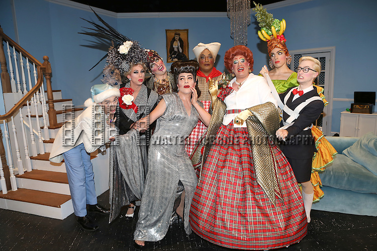 Garrit Gaudan, Sherry Vine, Jason B. Schmidt, Joey Arias, Flotilla DeBarge, Brett-Marco Glauser, Vodka Stinger and Adam Davidson from the cast of 'Christmas with the Crawfords' at the Abrons Arts Center Henry Street Settlement Theatre on December 14, 2014 in New York City.