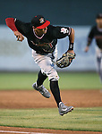 Albuquerque Isotopes' Joey Wong makes a play against the Reno Aces in Reno, Nev., on Saturday, April 18, 2015. The Isotopes won 9-4.<br /> Photo by Cathleen Allison