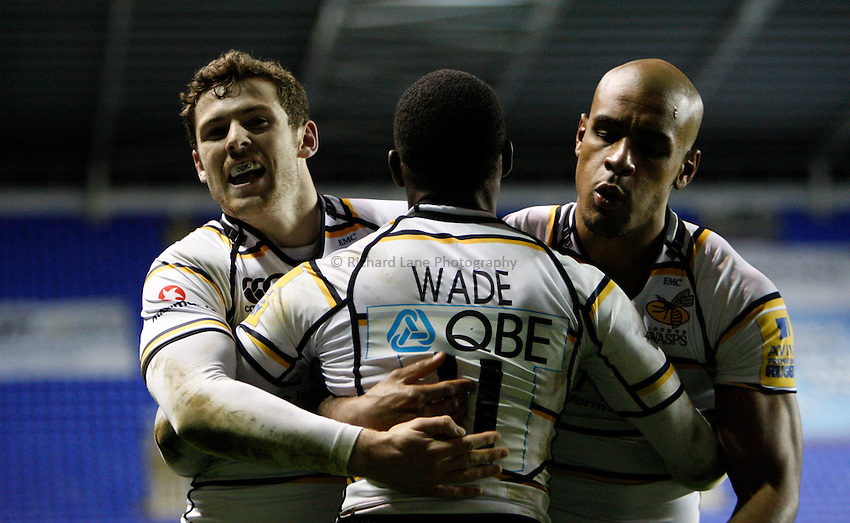 Photo: Richard Lane/Richard Lane Photography. London Irish v London Wasps. Aviva Premiership. 26/11/2011. Wasps' Elliot Daly and Tom Varndell celebrate with try scorer, Christian Wade.