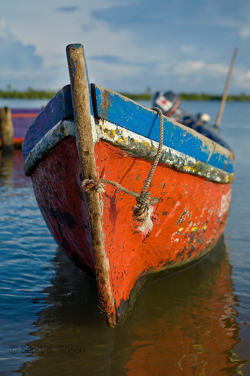 A Cayuko, or dug-out canoe sits near the airport in Carti, San Blas Islands, Kuna Yala, Panama