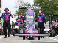 Oct 2, 2016; Mohnton, PA, USA; NHRA top fuel driver Antron Brown and crew during the Dodge Nationals at Maple Grove Raceway. Mandatory Credit: Mark J. Rebilas-USA TODAY Sports