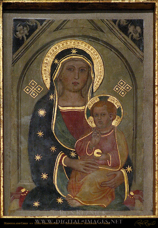 Medieval Byzantine Madonna and Child Gilded Halos and Clothing Accents Santa Maria in Trastavere Trastevere Rome