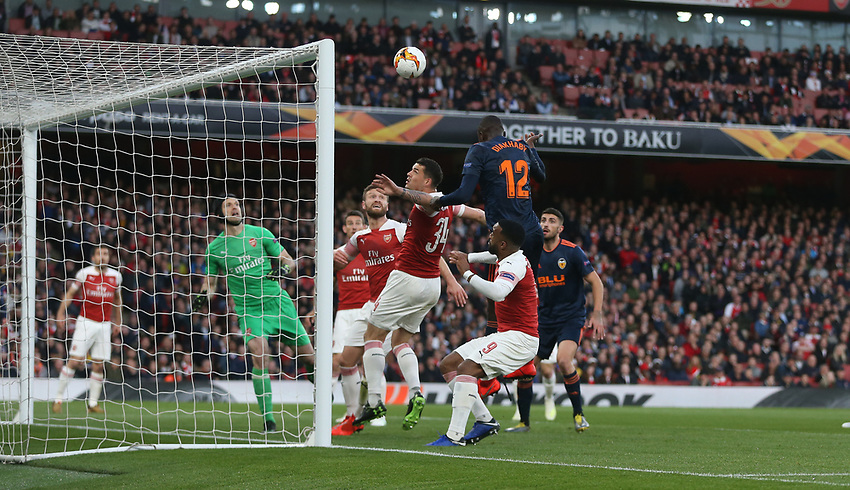 Valencia's Mouctar Diakhaby scores his side's first goal <br /> <br /> Photographer Rob Newell/CameraSport<br /> <br /> UEFA Europa League Semi-final 1st Leg - Arsenal v Valencia - Thursday 2nd May 2019 - The Emirates - London<br />  <br /> World Copyright © 2018 CameraSport. All rights reserved. 43 Linden Ave. Countesthorpe. Leicester. England. LE8 5PG - Tel: +44 (0) 116 277 4147 - admin@camerasport.com - www.camerasport.com