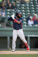 Left fielder Trey Harris (2) of the Rome Braves bats in a game against the Greenville Drive on Friday, April 19, 2019, at Fluor Field at the West End in Greenville, South Carolina. Greenville won, 2-0. (Tom Priddy/Four Seam Images)