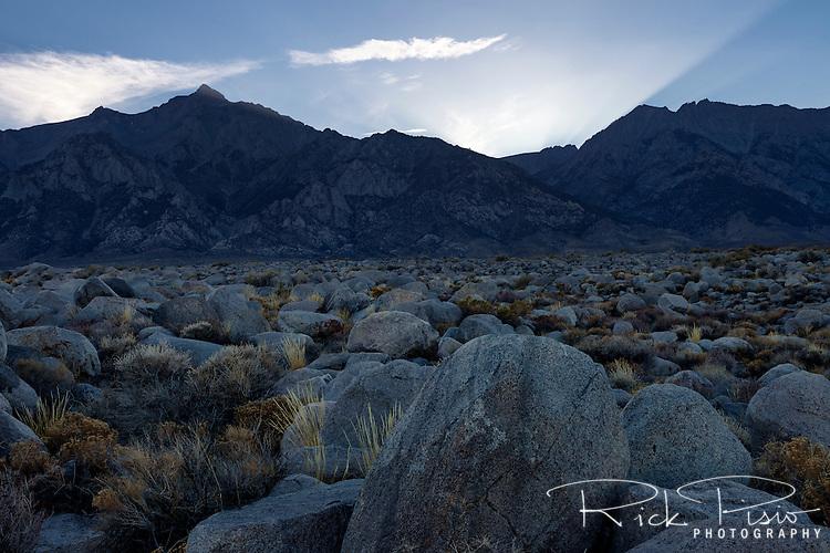 Sun sets behind Mt. Williamson in California's Eastern Sierra Nevada near Manzanar.