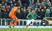 16th November 2019; Windsor Park, Belfast, County Antrim, Northern Ireland; European Championships 2020 Qualifier, Northern Ireland versus Netherlands; Northern Ireland's Niall McGinn looks for a way past Nathan Ake of Netherlands  - Editorial Use