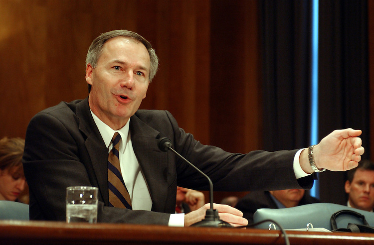 "CargoSecurity1_032003 -- Asa Hutchinson, undersecretary for border and transportation security, Homeland Security Department during the full committee hearing on ""Cargo Containers: The Next Terrorist Target?"""