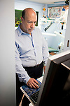 DOBBS FERRY, NY - FEBRUARY 03, 2011:  Dr. Edward Zuckerberg, D.D.S.,  father of Facebook founder Mark Zuckerberg, works on a computer in his dental practice on February 03, 2011 in Dobbs Ferry, NY.  (Photo by Michael Nagle)