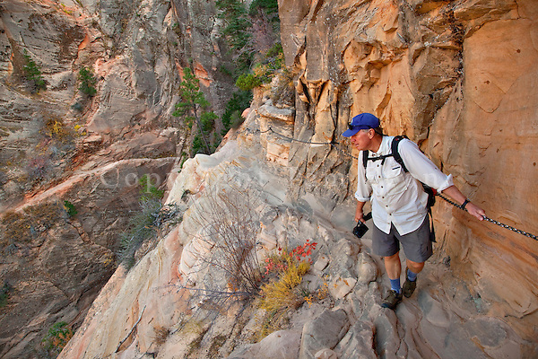 Hiker hanging on to chain on Hidden Canyon Trail at Zion National Park, Utah, AGPix_1918.