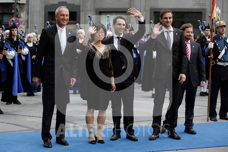 Representatives of the Max Planck Society for the Advancement of Science Soojin Ryu (2L), Ali Shahmoradi (3L), Damián Refojo and Peter Gruss (L) attend the 2013 Prince of Asturias Awards ceremony at the Campoamor Theater in Oviedo, Spain. October 25, 2013..(ALTERPHOTOS/Victor Blanco)