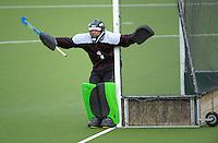 Hamilton goalie Finn Maunsell guards the goal during the Rankin Cup boys hockey final match between  Westlake Boys' High School and Hamilton Boys' High School at National Hockey Stadium, Wellington, New Zealand on Friday, 6 September 2013. Photo: Dave Lintott / lintottphoto.co.nz