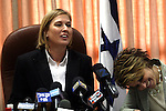 Israeli Opposition Leader Tzipi Livni (L) is seen speaking at a Kadima party faction meeting, while MK and Kadima member Dalia Itzik (R) is seen laughing, today in Israel's Parliament (Knesset) in Jerusalem, June 15, 2009.  Livni referred to the much anticipated policy speech that Israeli Prime Minister, Benjamin Netanyahu gave yesterday evening at Bar-Ilan University, and stated that the speech was a step in the right direction. Photo By: Tess Scheflan / JINI .