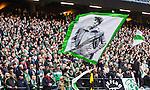 BETALBILD Solna 2015-03-07 Fotboll Allsvenskan AIK - Hammarby IF :  <br /> Hammarbys supportrar med en flagga under matchen mellan AIK och Hammarby IF <br /> (Foto: Kenta J&ouml;nsson) Nyckelord:  AIK Gnaget Friends Arena Svenska Cupen Cup Derby Hammarby HIF Bajen supporter fans publik supporters