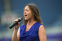 Orlando, FL - Sunday June 26, 2016: National Anthem Singer  prior to a regular season National Women's Soccer League (NWSL) match between the Orlando Pride and the Portland Thorns FC at Camping World Stadium.