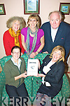 Waterville writers group will be launching a book entitled 'Childhood  Memories' in Teac Amergin on Friday 11th at 7:30 with the proceeds from the sales going to The Cahersiveen Hospice pictured here front Noreen Donnelly(Matron St Anne's Hospital Cahersiveen), Sarah Curran, back l-r; Vanessa Tallon, Allison Dowling(K.E.S. Tutor) & Finbar O'Donovan)