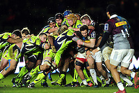 Sale Sharks forwards drive the ball towards the Harlequins try line. Anglo-Welsh Cup match, between Harlequins and Sale Sharks on February 3, 2017 at the Twickenham Stoop in London, England. Photo by: Patrick Khachfe / JMP