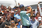 Cromwell, CT-24 JUNE 24 2017-062417MK12  Jordan Spieth tees off from the first hole Saturday afternoon during the third round of the 2017 Travelers Championship at the TPC River Highlands in Cromwell.  Michael Kabelka / Republican-American