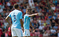 Gabriel Jesus of Manchester City gives instructions to Danilo of Manchester City during the Premier League match between Bournemouth and Manchester City at the Goldsands Stadium, Bournemouth, England on 26 August 2017. Photo by Andy Rowland.