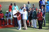 President Uhuru Kenyatta presents the winning jacket to Guido Migliozzi (ITA) at prizegiving after the final round of the Magical Kenya Open, Karen Country Club, Nairobi, Kenya. 17/03/2019<br /> Picture: Golffile | Phil Inglis<br /> <br /> <br /> All photo usage must carry mandatory copyright credit (&copy; Golffile | Phil Inglis)