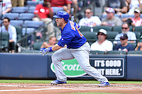 Chicago Cubs catcher Miguel Montero (47) swings at a pitch during a game against the Atlanta Braves at Turner Field on June 11, 2016 in Atlanta, Georgia. The Cubs defeated the Braves 8-2. (Tony Farlow/Four Seam Images)