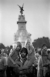 Queen Elizabeth Silver Jubilee, crowds gather at Buckingham Palace to cheer and watch the firework display 1978 to mark the end of a year of celebrations. London UK 1970s.