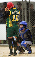 Hutt Valley's Shirley Povey adjusts her helmet as Auckland catcher Lisa Arkell waits. Hutt Valley v Auckland Angels -  National League Softball Championship finals at Fraser Park, Wellington, New Zealand on Sunday 2 February 2009. Photo: Dave Lintott / lintottphoto.co.nz