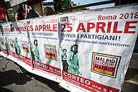 """Rome, 25/04/2018. Today, to mark the 73rd Anniversary of the Italian Liberation from nazi-fascism ('Liberazione'), ANED Roma & ANPI Roma (National Association of Italian Partizans) held a march ('Corteo') from Garbatella to Piazzale Ostiense where a rally took place attended by Partizans, Veterans and politicians – including the Mayor of Rome and the President of Lazio's Region. FOR THE FULL CAPTIONS PLEASE CHECK """"Photo Stories - 2010 to Today"""" 25.04.2018."""