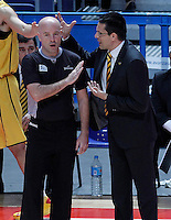 Herbalife Gran Canaria's coach Pedro Martinez have words with the referee during Liga Endesa ACB match.December 19,2012. (ALTERPHOTOS/Acero) /NortePhoto