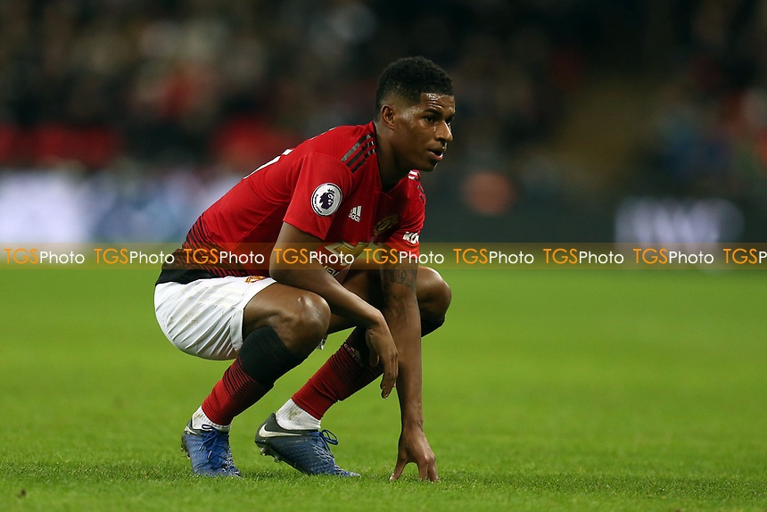 Marcus Rashford of Manchester United has a breather during Tottenham Hotspur vs Manchester United, Premier League Football at Wembley Stadium on 13th January 2019