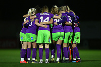 Bristol players huddle during Arsenal Women vs Bristol City Women, FA Women's Super League Football at Meadow Park on 14th March 2019