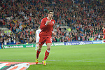 Gareth Bale during the Wales v Norway Vauxhall international friendly match at the Cardiff City Stadium in South Wales..Editorial use only.