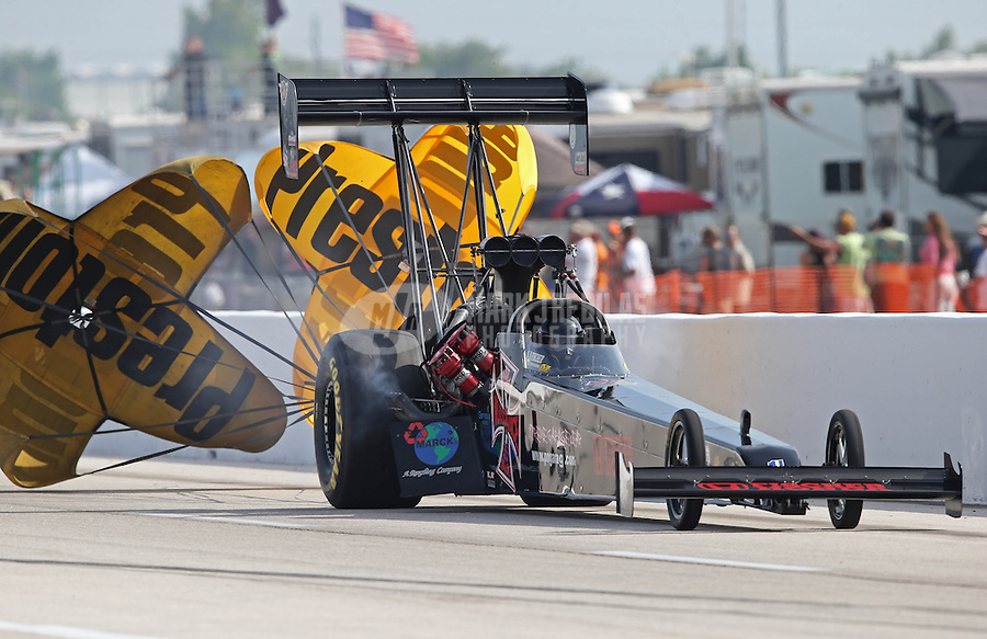 Apr. 26, 2013; Baytown, TX, USA: NHRA top fuel dragster driver Scott Palmer during qualifying for the Spring Nationals at Royal Purple Raceway. Mandatory Credit: Mark J. Rebilas-