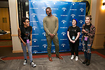 Tarell Alvin McCraney chats with Breya Jones, Emily Katzman and Jess Sito, Friday, April 21, 2017 in the Lincoln Park Student Center. (Photo by Diane M. Smutny)