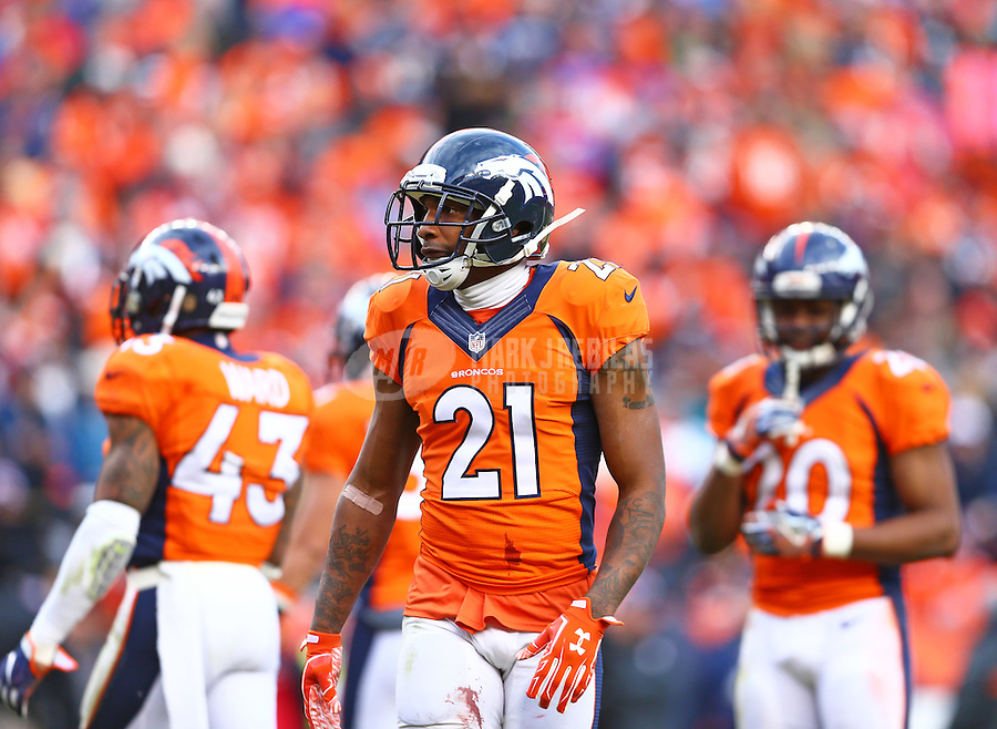 Jan 24, 2016; Denver, CO, USA; Denver Broncos cornerback Aqib Talib (21) against the New England Patriots in the AFC Championship football game at Sports Authority Field at Mile High. The Broncos defeated the Patriots 20-18 to advance to the Super Bowl. Mandatory Credit: Mark J. Rebilas-USA TODAY Sports