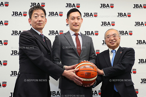 (L to R) <br />  Takao Udagawa, <br />  Takaki Kato, <br />  Michihoro Tanaka, <br /> SEPTEMBER 25, 2017 - Basketball : <br /> Japan Basketball Association Press Conference <br /> JBA Certified Professional Referee was born. <br /> in Tokyo, Japan. <br /> (Photo by YUTAKA/AFLO SPORT)