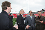 28 April 2007: Maple Leafs Sports and Entertaiment Executive Vice-President of Venues Bob Hunter (2nd from left) with Major League Soccer CEO and President Mark Abbott (l), Commissioner Don Garber (2nd from right), and Deputy Commissioner (right). Major League Soccer expansion team Toronto FC lost 1-0 to the Kansas City Wizards in the inaugural game at BMO Field in Toronto, Ontario, Canada, the first MLS game played outside of the United States.