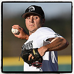 Starting pitcher Jordan Marks (33) of the University of South Carolina Upstate Spartans delivers a pitch in a game against the High Point Panthers on Friday, March 22, 2019, at Cleveland S. Harley Park in Spartanburg, South Carolina. High Point won, 4-2. (Tom Priddy/Four Seam Images)