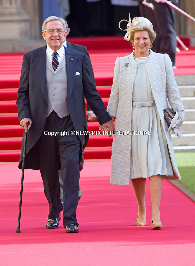 """EX-KING CONSTANTINE AND QUEEN ANNE-MARIE OF GREECE.Religious Wedding Ceremony of HRH the Hereditary Grand Duke and Countess Stéphanie de Lannoy at Cathedral of Our lady of Luxembourg, Luxembourg_20-10-2012.Mandatory credit photo: ©Dias/NEWSPIX INTERNATIONAL..(Failure to credit will incur a surcharge of 100% of reproduction fees)..                **ALL FEES PAYABLE TO: """"NEWSPIX INTERNATIONAL""""**..IMMEDIATE CONFIRMATION OF USAGE REQUIRED:.Newspix International, 31 Chinnery Hill, Bishop's Stortford, ENGLAND CM23 3PS.Tel:+441279 324672  ; Fax: +441279656877.Mobile:  07775681153.e-mail: info@newspixinternational.co.uk"""
