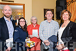 Seen at O'Grady's bar in Killorglin on Friday for the launch of her latest book of poetry, &quot;What Lies Between&quot;, Noreen Ahern with representatives of the charities which will benefit from the proceeds of the book.<br /> L-R Eoghan O'Sullivan (Breakthrough Cancer Research),Michelle Curran (Valentia Lifeboat), Noreen Ahern, Sean Scally (Enable Ireland Kerry), Kay Woods (Kerry Hospice).