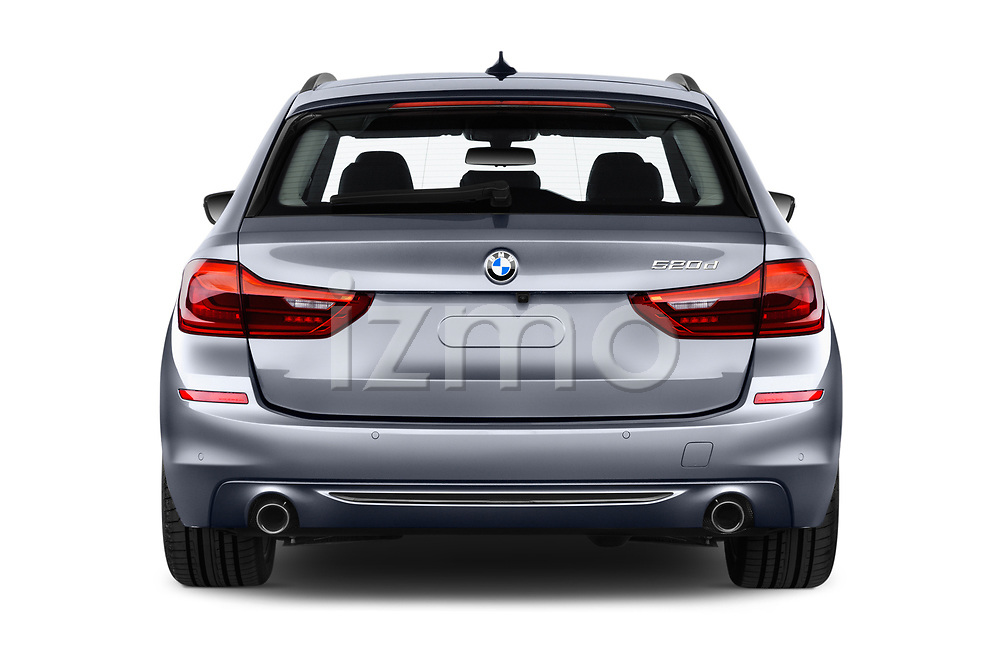 Straight rear view of 2018 BMW 5 Series Touring Sport 5 Door Wagon stock images